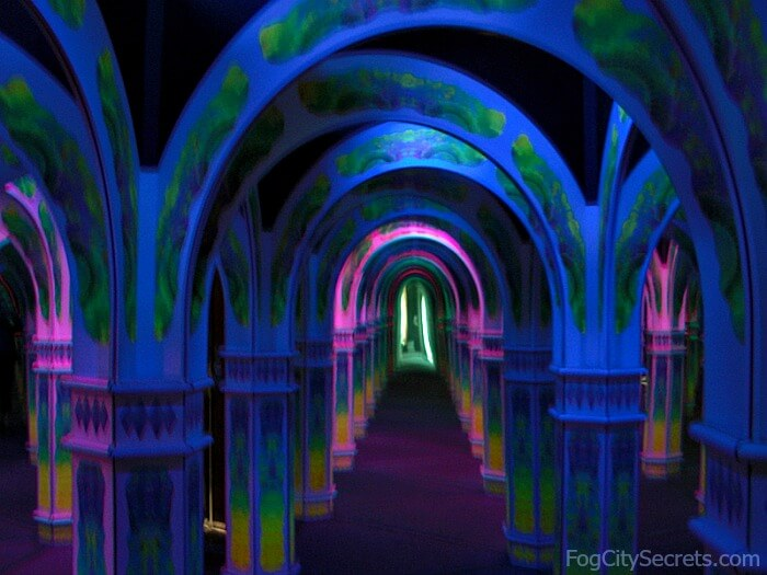 Megowan's Infinite Mirror Maze inside, blue hallways