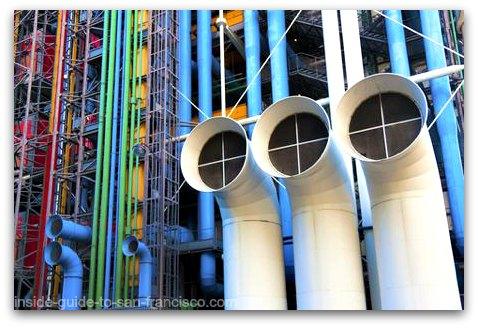 Colorful pipes on Pompidou Center Paris