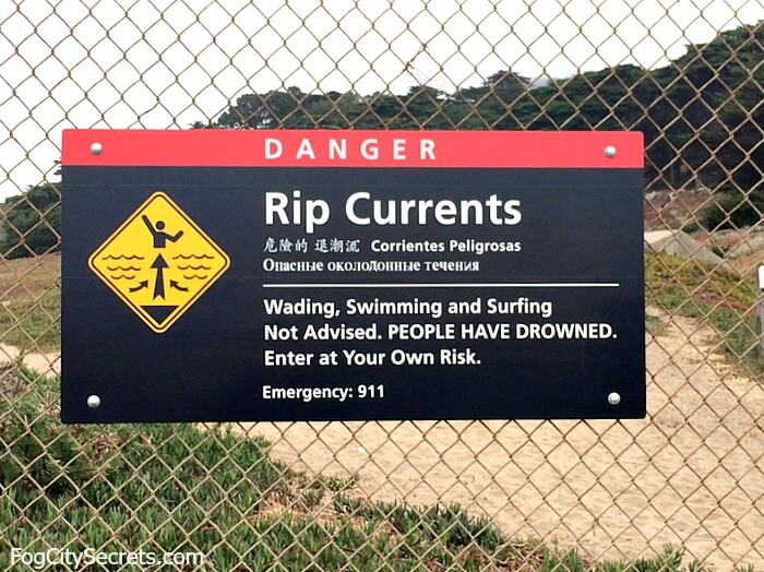 Rip current warning sign, Baker Beach SF