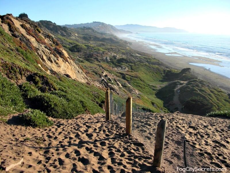 san francisco beaches, fort funston, view of steep descent