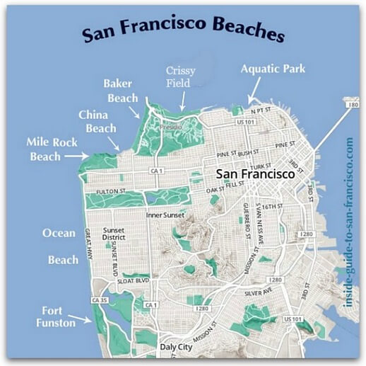 Map of San Francisco beaches
