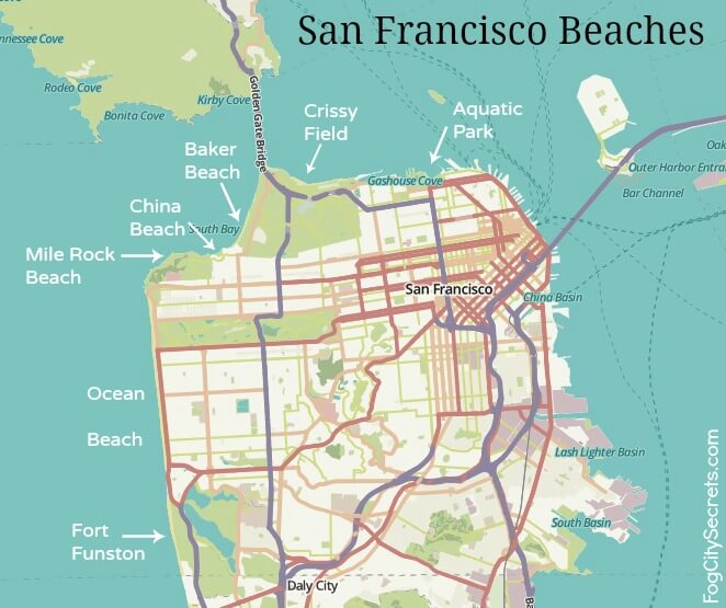 Map of beaches in San Francisco