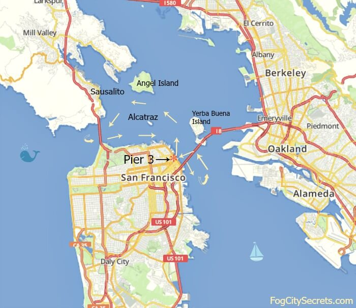 Map of cruise route around bay on San Francisco dinner cruise