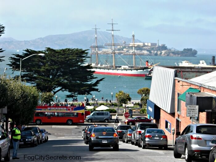 View of Alcatraz and old schooner at Fisherman's Wharf SF