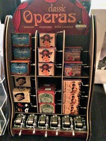 Display of music boxes in SF Opera Gift Shop