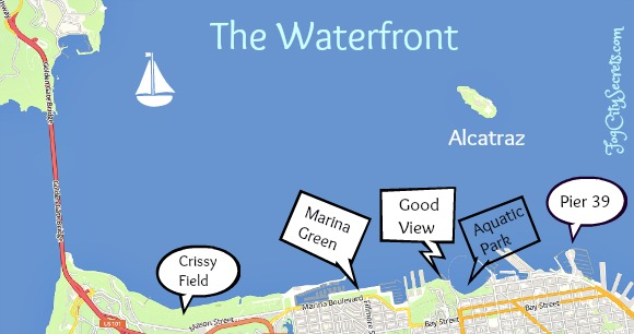 Map of Blue Angels viewpoints on SF waterfront