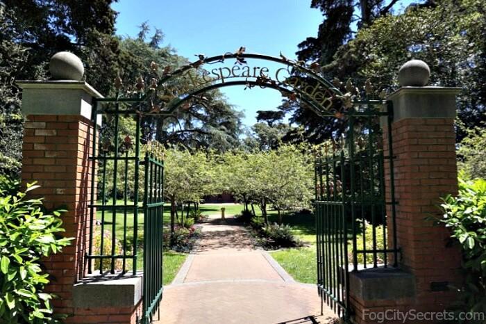 Metal gate entrance to Shakespeare Garden, Golden Gate Park