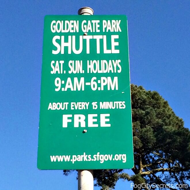 Golden Gate Park shuttle sign
