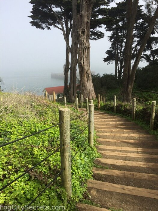 Rustic stairway from Warming Hut to Battery East Trail, near the Golden Gate Bridge