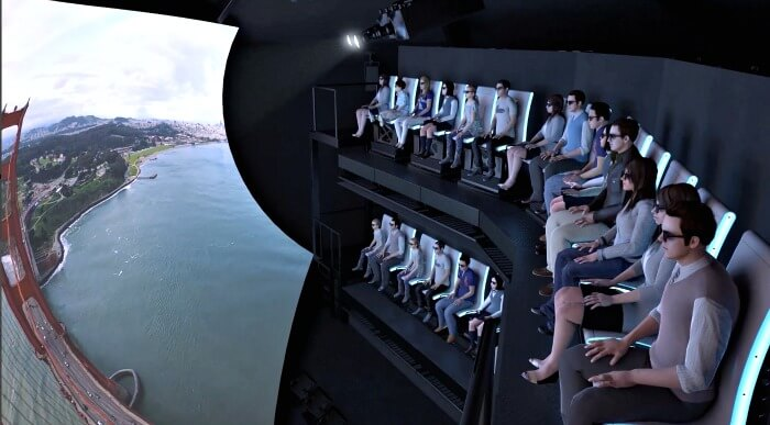 Two-story seating for the 3D ride at Pier 39, the Flyer San Francisco.