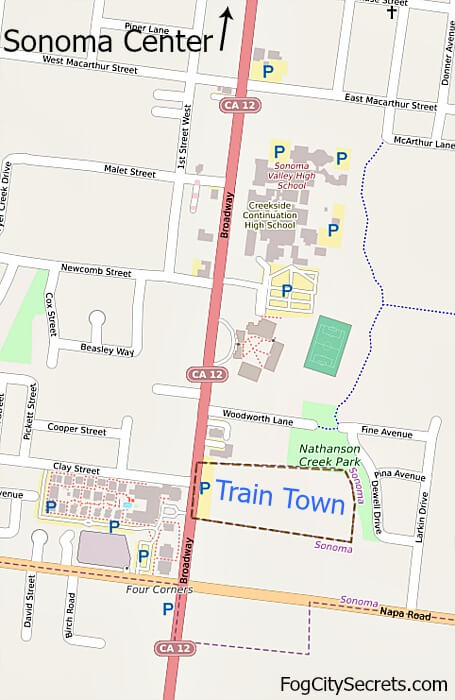 Map showing the location of Train Town in Sonoma