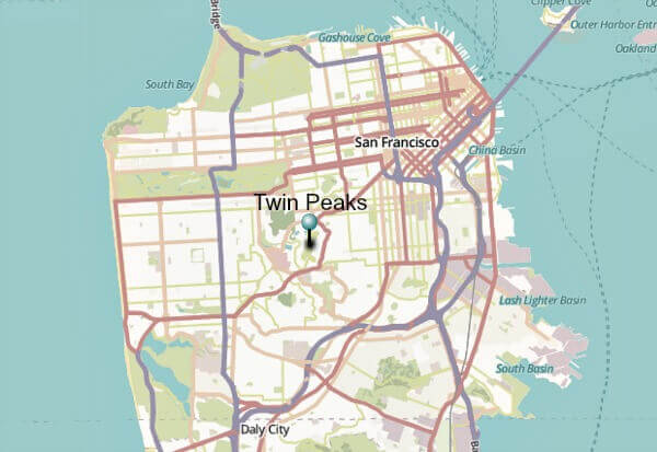 Map of San Francisco with Twin Peaks marked