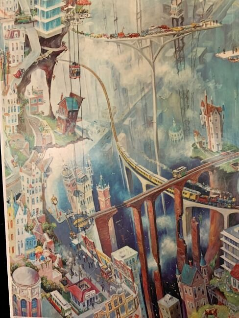 1960's poster with surrealistic view of San Francisco by Albert Tolf