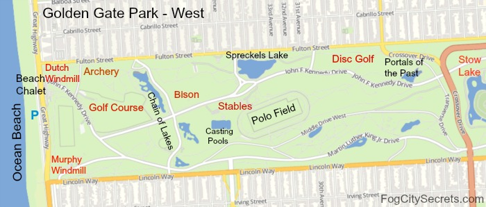 Map of Golden Gate Park, western half