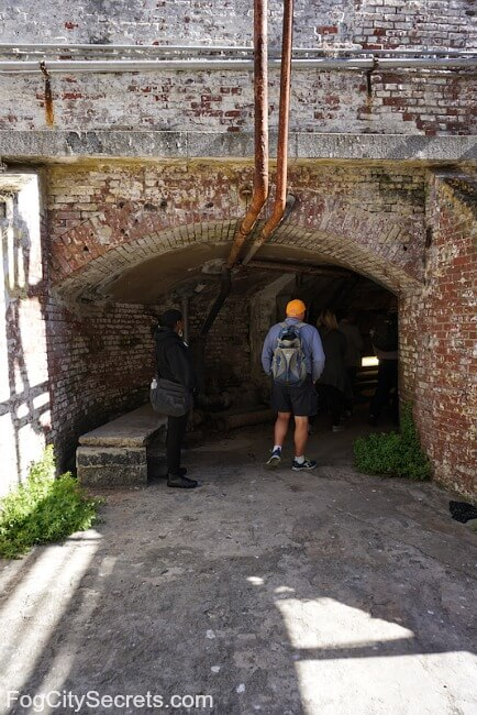 Entrance to brick tunnel on Alcatraz