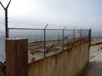 View of stairs down to Alcatraz exercise yard