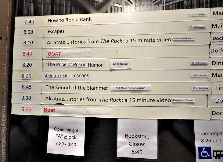 Board with special programs schedule, Alcatraz night tour.