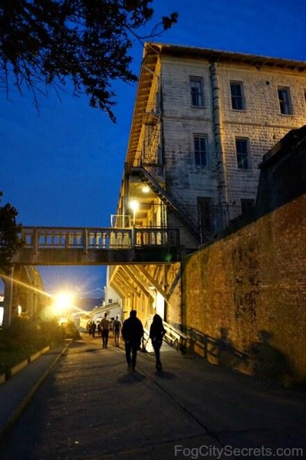 Alcatraz night tour, walkway under bridge