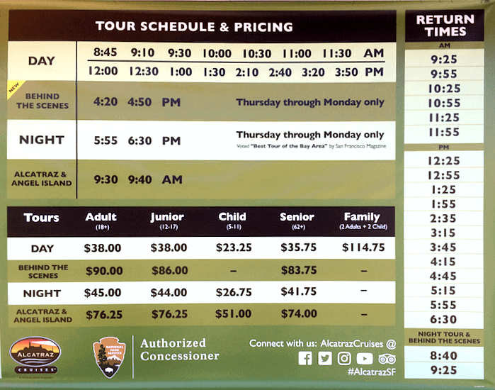 Alcatraz spring 2018 ferry schedule and prices