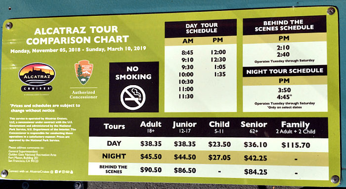 Current winter schedule and fees for Alcatraz tours, 2018 to 2019.