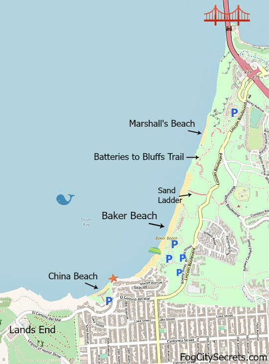 Map of Baker Beach, China Beach, Marshall's Beach in SF