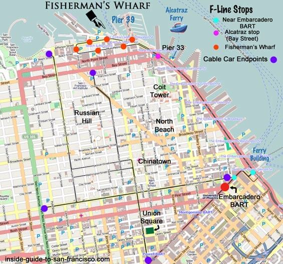 Transportation to Pier 33 map, Alcatraz Ferry, Fisherman's Wharf. BART, cable cars, muni.