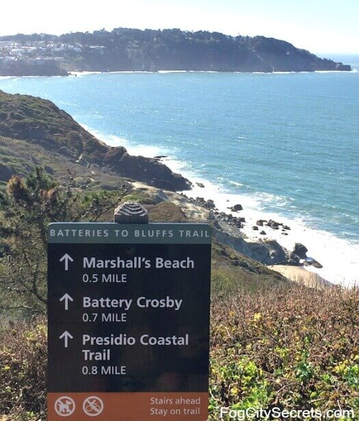 Marshall's Beach in San Francisco and the sign for the Batteries to Bluffs trail