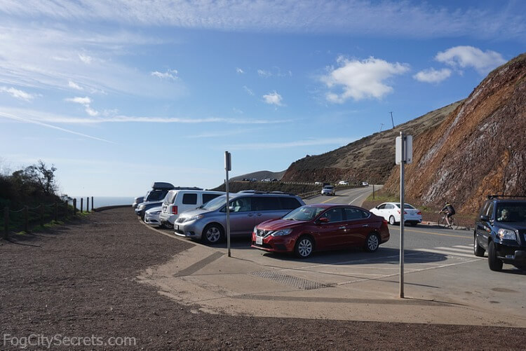 Parking lot for Battery Spencer on Conzelman Road, Marin Headlands.
