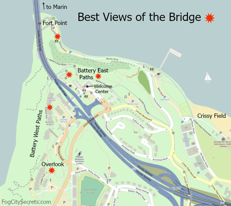 Map of the best places to view the Golden Gate Bridge in San Francisco