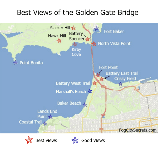 Map showing best views of the Golden Gate Bridge from San Francisco and Marin County.