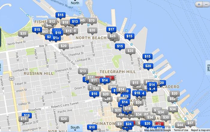 Map of available parking garages, San Francisco, BestParking app.