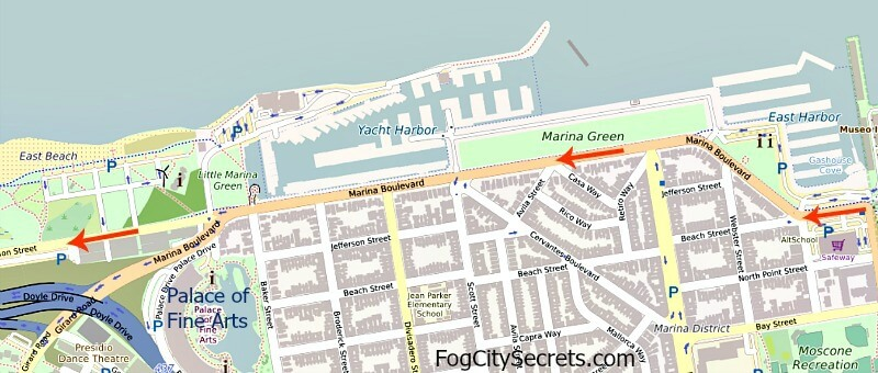 Map of bike route to Golden Gate Bridge, past Marina Green and Palace of Fine Arts