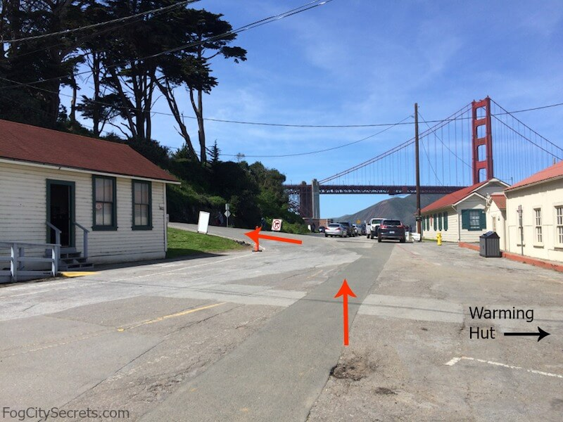 Bike route to the Golden Gate Bridge, from behind the Warming Hut.