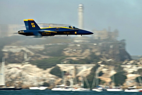 Blue Angel pilot flies past Alcatraz
