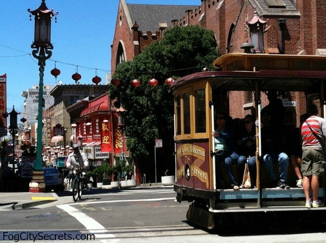 San Francisco Chinatown, cable car crossing Grant Avenue.