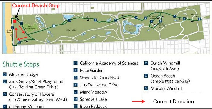 Golden Gate Park shuttle map with route corrections added