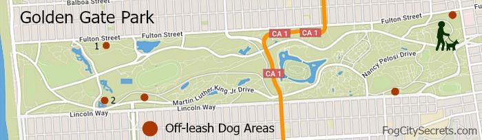 Map of off-leash, dog areas in Golden Gate Park.