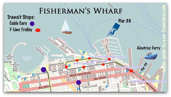 Fisherman's Wharf SF map of trolley and cable car stops