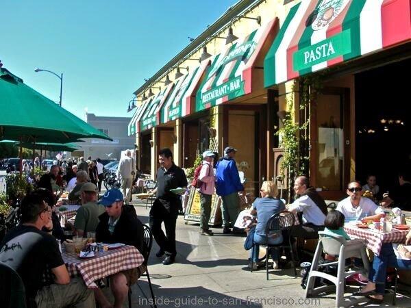 Outdoor seating at Cioppino's restaurant at Fisherman's Wharf SF