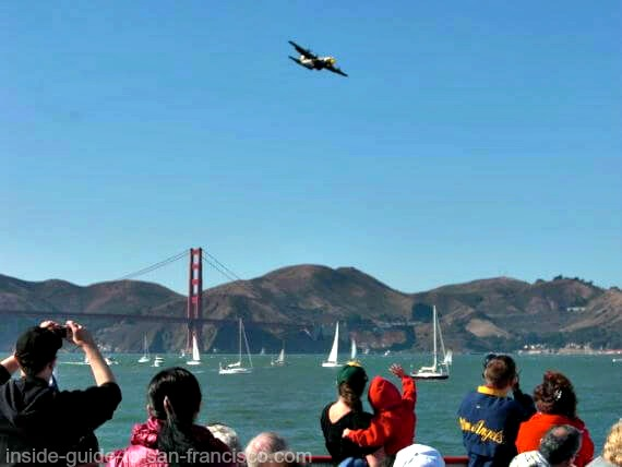 Fleet Week air show in San Francisco, view from boat