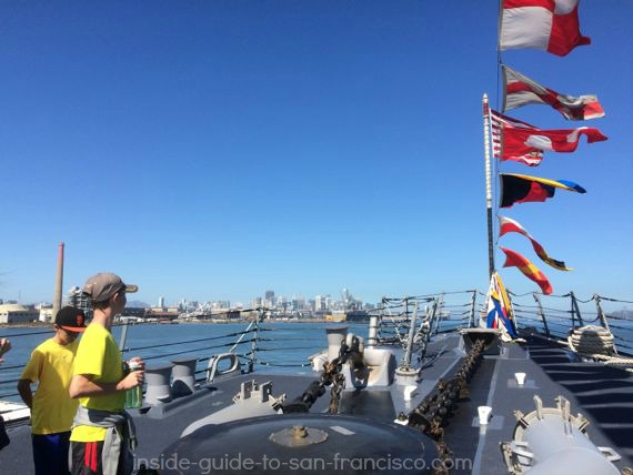 SF Fleet week, ship tour of USS Stockdale, guided missile destroyer. On the deck, flags waving.