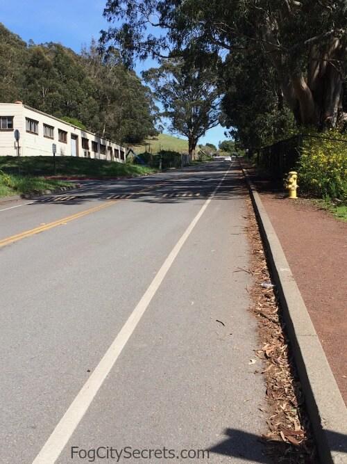 Long, steep hill leaving Fort Baker, Marin County