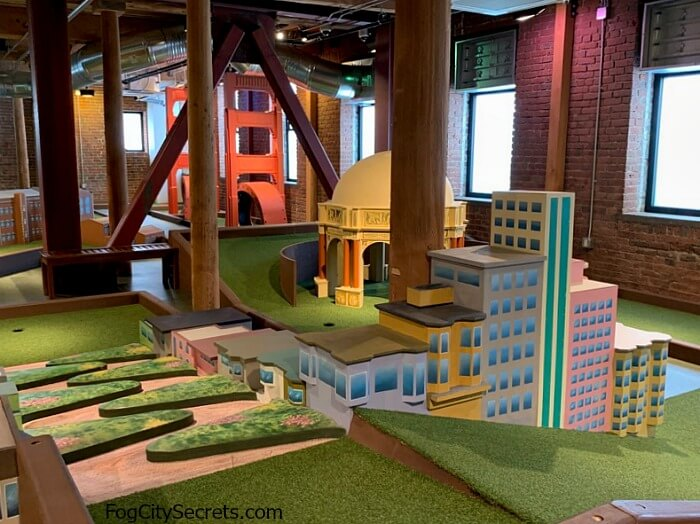Mini golf course at Ghirardelli Square, San Francisco attractions theme.