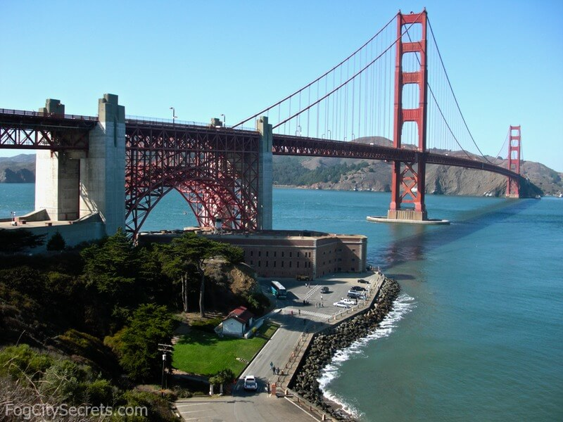 View of Golden Gate Bridge and Fort Point