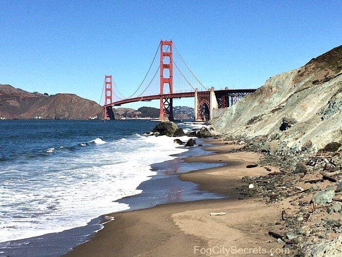 Marshall's Beach in San Francisco, view of Golden Gate Bridge