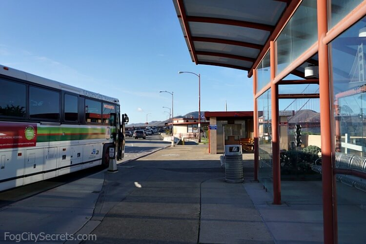 Bus stop at the Toll Plaza, Golden Gate Bridge, for buses #30 and #76X.
