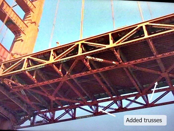 Underside of Golden Gate Bridge showing trusses added