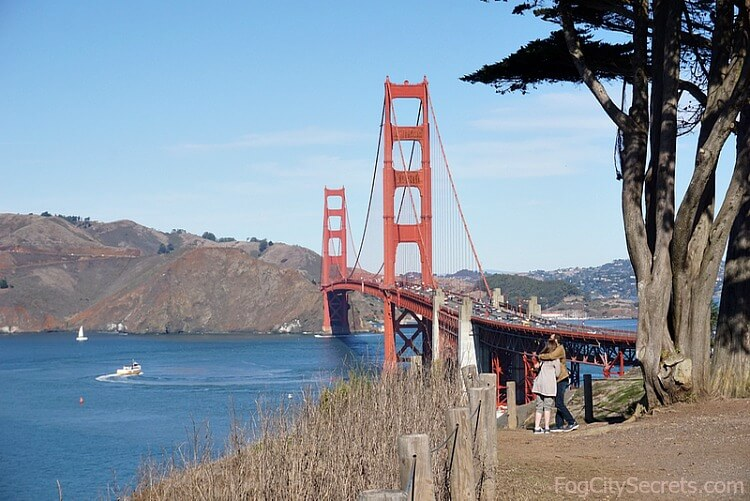 View of Golden Gate Bridge from Battery West Trail