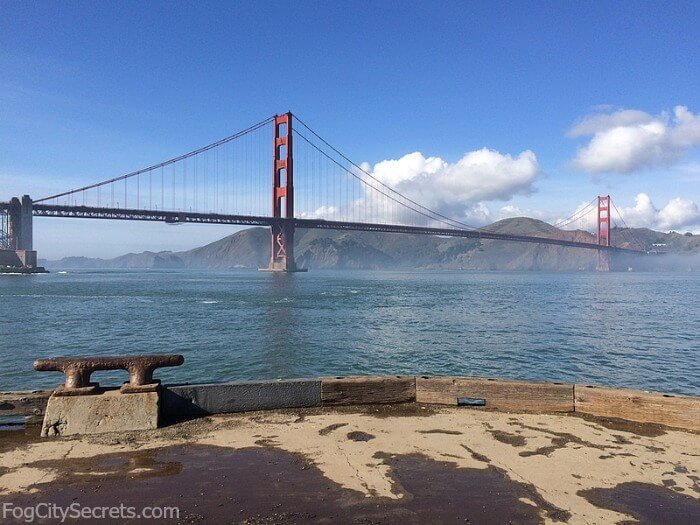 View of the Golden Gate Bridge from the pier near Crissy Field