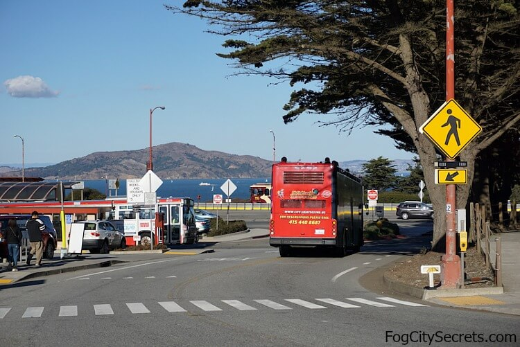 Double-decker tour bus heading for the Welcome Center, Golden Gate Bridge